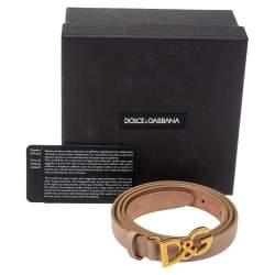 Dolce & Gabbana Beige Leather DG Buckle Belt Size 90
