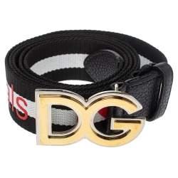Dolce & Gabbana Black/White Nylon DG Millennials Belt Size 100 cm