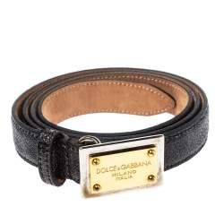 Dolce & Gabbana Grey Leopard Print Leather Logo Plaque Belt 80CM