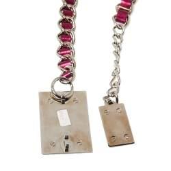 Dolce & Gabbana Fuchsia Leather Logo Plaque Chain Belt 85CM