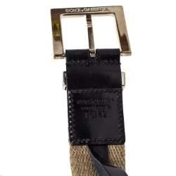 Dolce & Gabbana Beige Canvas Plaque Detail Belt 75CM