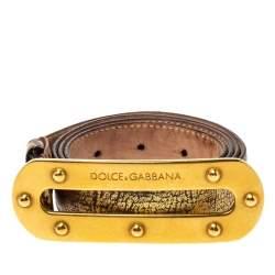 Dolce & Gabbana Metallic Gold Textured Leather Belt Size 95CM