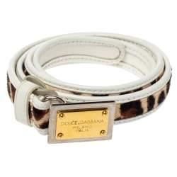 Dolce & Gabbana White Leather and Animal Print Calf Hair Narrow Belt 85CM