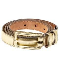 Dolce & Gabbana Gold Leather Belt 100CM