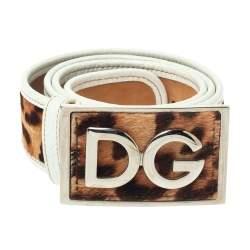 Dolce & Gabbana Brown/White Animal Print Calf Hair and Leather Trim Belt Size 80CM