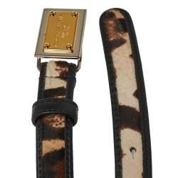 Dolce & Gabbana Brown/Black Calf Hair and Leather Trim Animal Print Narrow Belt 85CM
