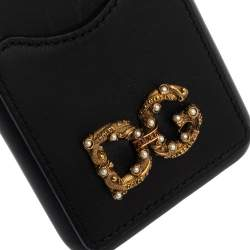 Dolce & Gabbana Black Leather DG DG Amore iPhone X Cover
