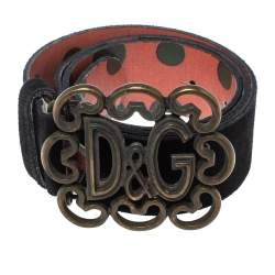 Dolce & Gabbana Black Suede D&G Logo Belt 80CM