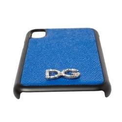 Dolce & Gabbana Blue/Black Leather Crystal Embellished Logo iPhone X Cover
