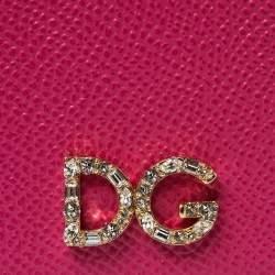 Dolce & Gabbana Pink/Black Leather Crystal Embellished Logo iPhone X Case