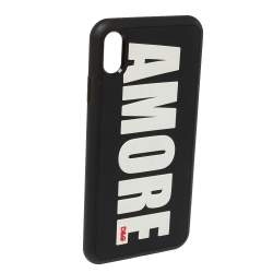 Dolce & Gabbana Black Amore Embossed PVC iPhone XS Max Case