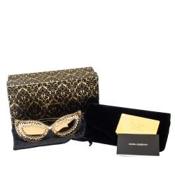 Dolce & Gabbana Gold & Pearl Lace Filigree / Gold Mirrored DG 2238-H Cat Eye Sunglasses