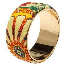 Dolce & Gabbana Multicolor Floral Print Fabric Wide Bangle Bracelet
