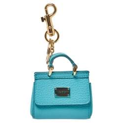 Dolce & Gabbana Turquoise Leather Miss Sicily Key Chain/Bag Charm