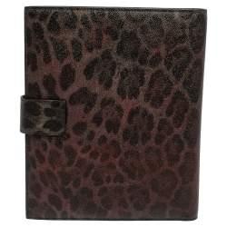 Dolce & Gabbana Multicolor Leopard Print Leather Tablet 2 Case