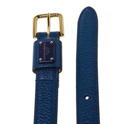 Dolce & Gabbana Blue Leather Slim Buckle Belt 80CM