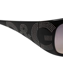 Dolce & Gabbana Black Studded Logo/ Grey Gradient Rectangle Sunglasses