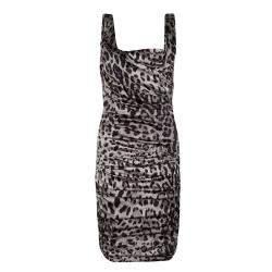 Dolce & Gabbana Grey Animal Print Silk Ruched Sleeveless Dress S