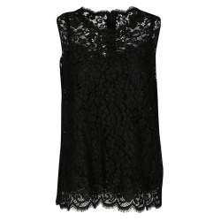 Dolce & Gabbana Black Floral Lace Sleeveless Top M