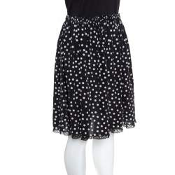 Dolce & Gabbana Monochrome Polka Dotted Lace Trim Silk Skirt M