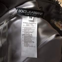 Dolce & Gabbana Grey Lace Sleeveless Flared Dress S