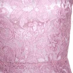 Dolce & Gabbana Pink Lace Flounce Midi Dress S