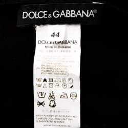 Dolce & Gabbana Black Knit Lace Trim Detail Mini Dress M