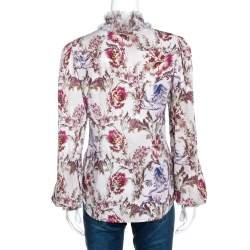 Dolce & Gabbana Grey Floral Print Silk Ruffle Front Blouse M