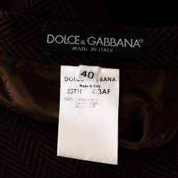 Dolce & Gabbana Brown Herringbone Wool A Line Skirt S