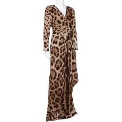 Dolce & Gabbana Brown Animal Print Silk Faux Wrap Dress L