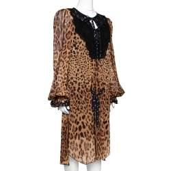 Dolce & Gabbana Brown Leopard Print Cotton Kaftan Dress L