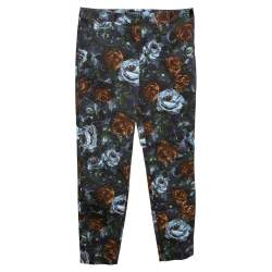 Dolce & Gabbana Grey Floral Print Cotton Tapered Pants S