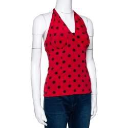 Dolce & Gabbana Red Polka Dot Stretch Silk Halter Neck Top S