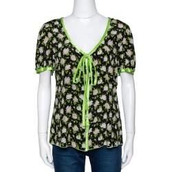 Dolce & Gabbana Black Rose Print Silk Button Front Blouse L