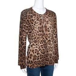 Dolce & Gabbana Brown Leopard Print Cashmere Cardigan L