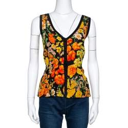 Dolce & Gabbana Black Floral Print Silk & Cotton Sleeveless Top L