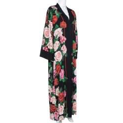Dolce & Gabbana Black Floral Print Silk Button Front Abaya M