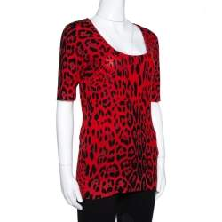 Dolce & Gabbana Red Leopard Pattern Wool Knit Jumper M