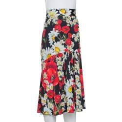 Dolce & Gabbana Black Daisy & Poppy Print Silk Midi Skirt M