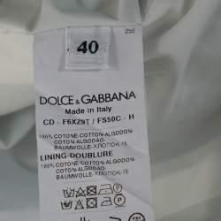 Dolce & Gabbana Green and White Banana Leaf Print Cotton Midi Dress M