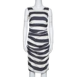Dolce & Gabbana Monochrome Striped Stretch Silk Ruched Dress L