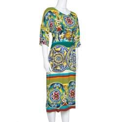 Dolce & Gabbana Multicolor Printed Crepe Sheath Dress L