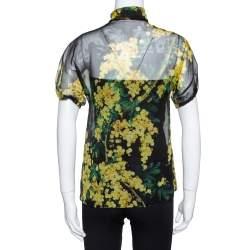 Dolce & Gabbana Black Floral Print Silk Tie Front Sheer Blouse S