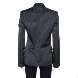 Dolce & Gabbana Black Pinstriped Cotton Tailored Blazer M