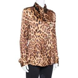 Dolce & Gabbana Brown Leopard Print Silk Button Front Shirt L