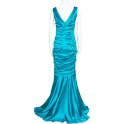 Dolce & Gabbana Turquoise Blue Silk Satin Ruched Maxi Dress L