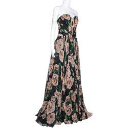 Dolce & Gabbana Black Rose Print Silk Gathered Strapless Dress L