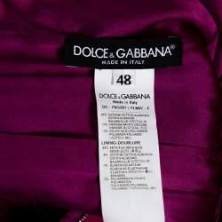 Dolce & Gabbana Magenta Corded Lace Plunge Back Maxi Dress L