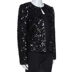 Dolce & Gabbana Black Silk Lined Sequined Jacket M