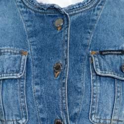 Dolce & Gabbana Blue Denim Fitted Collarless Jacket S